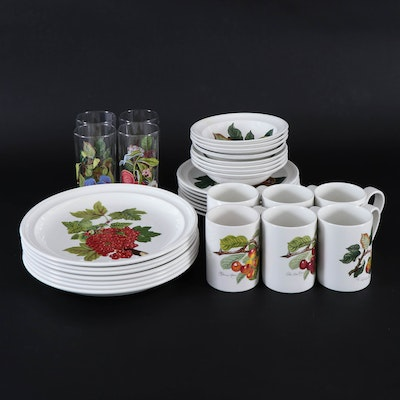 "Portmeirion ""Pomona"" Dinnerware with Glass Tumblers, 1983–2020"