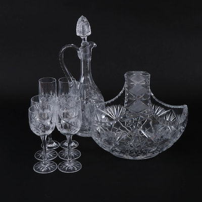 Cut Crystal Liquor Set and Basket, Mid to Late 20th Century
