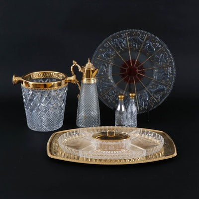 Cut Glass and Gilt Trimmed Serveware Including Zodiac Platter