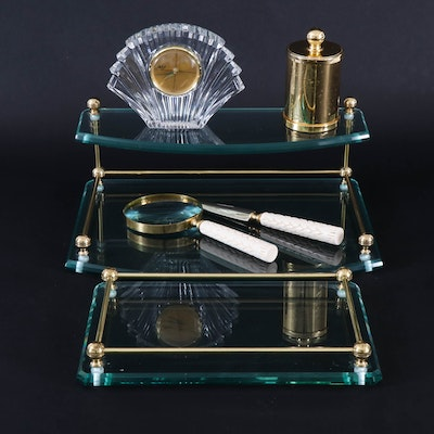 Frontgate Glass and Brass Vanity Trays with Bath and Office Accessories