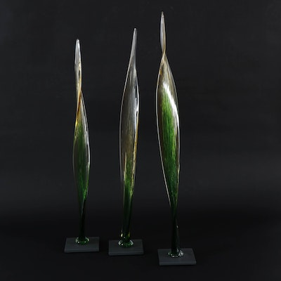 Fusion Z Amber Hand-Blown Art Glass Reeds