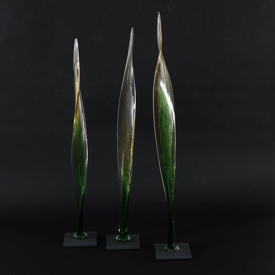 Fusion Z Amber Hand-Blown Art Glass Reeds