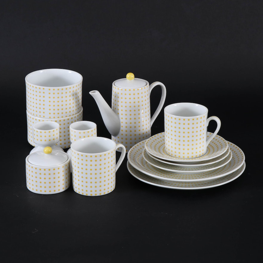 """Dotted Suisse"" Porcelain Breakfast for Two Service, Late 20th Century"