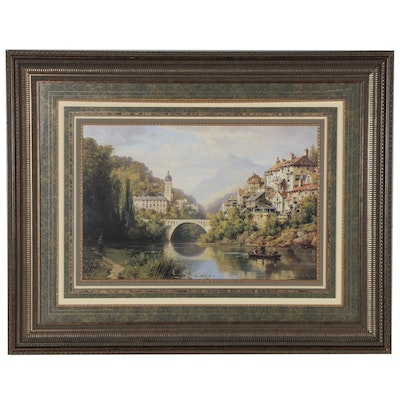 "Offset Lithograph after Charles Kuwasseg ""Riverside Village II"""