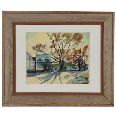 Watercolor Painting of Street Scene Landscape, Late 20th Century
