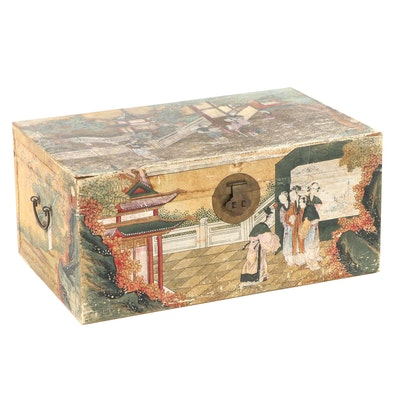 Chinese Polychrome-Decorated and Pigskin-Lined Wood Trunk