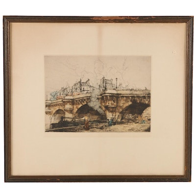 Hand-Colored Etching of Pont-Neuf, Paris, France