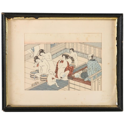 Japanese Woodblock Print of Interior Bath House