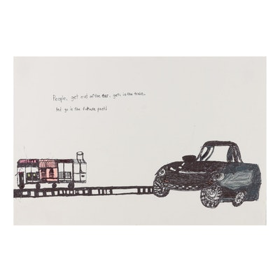 """Jeff Aurila Marker Drawing """"People, Get Out of the Car...,"""" 21st Century"""