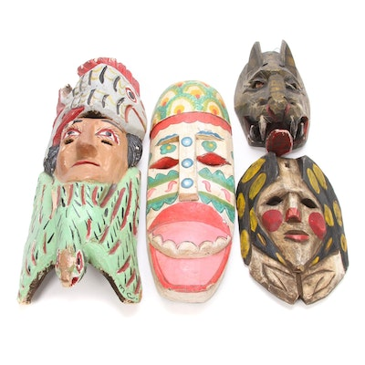 Handmade Mask Wall Hangings, Mid to Late 20th Century