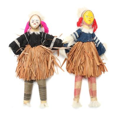 Handmade Folk Art Mixed Media Dolls, Late 20th Century