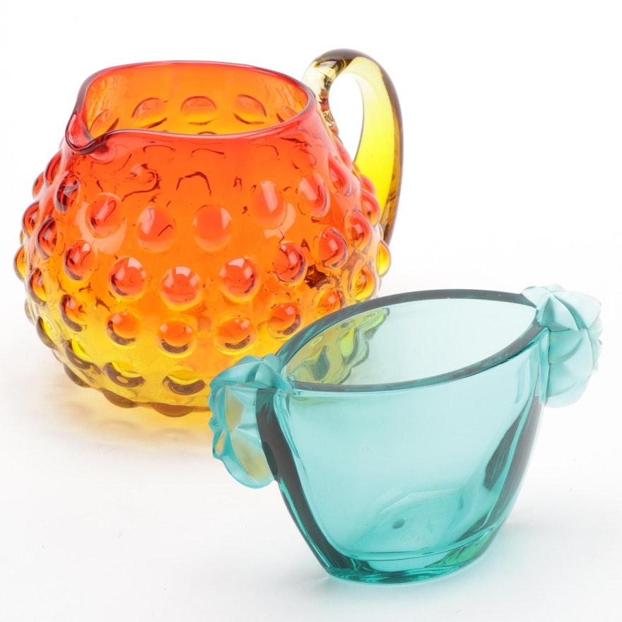 "Blenko ""Amberina"" Bubble Pitcher with Sevres Crystal Leaf Vase"