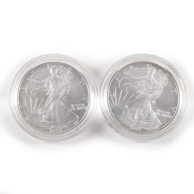 2006-W and 2007-W American Silver Eagle Uncirculated Bullion Coins