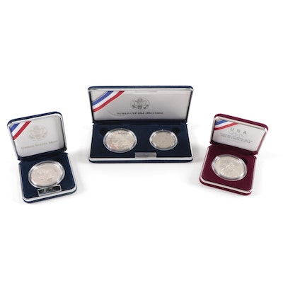 Three Modern U.S. Commemorative Proof Silver Dollar Sets