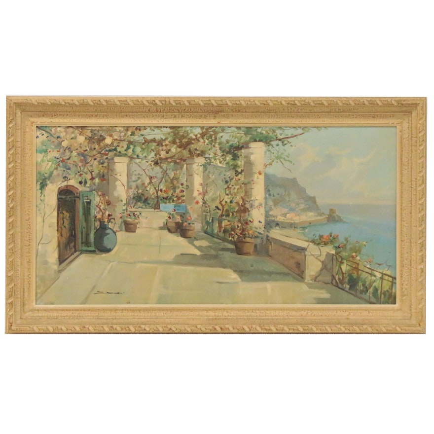 Oil Painting of Tuscan Terrace, Mid-20th Century