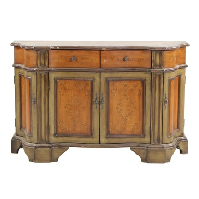 Paint-Decorated and Polychromed Wood Serpentine Credenza
