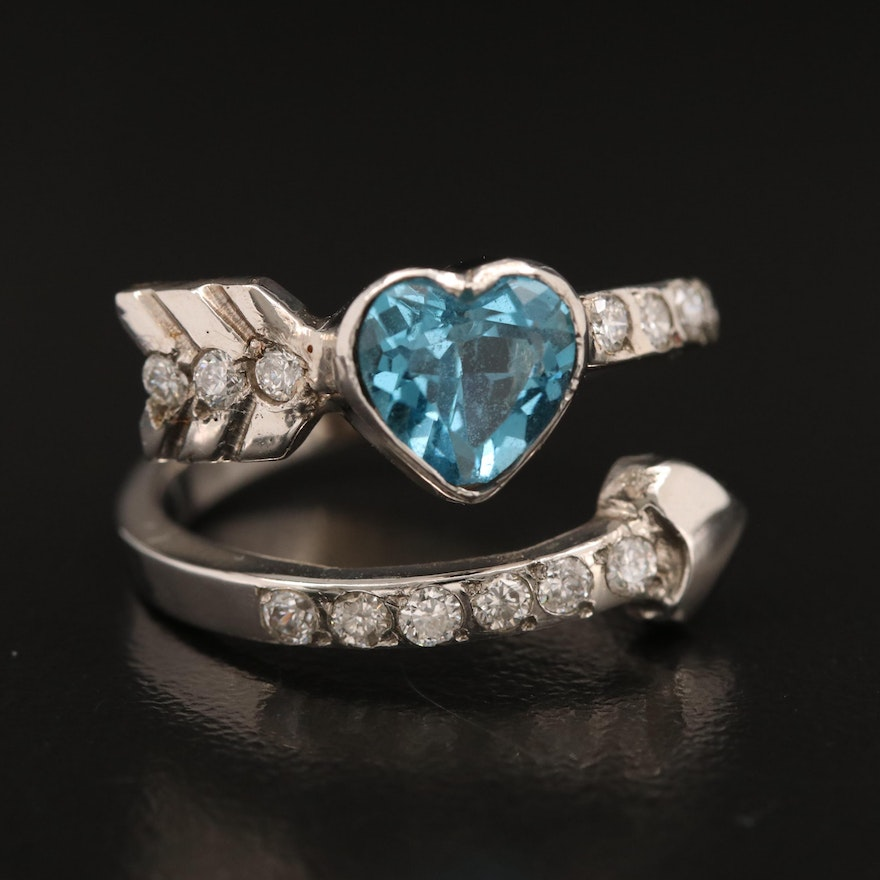 14K Topaz and Diamond Heart and Arrow Bypass Ring