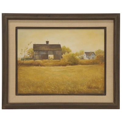 Dale Wilson Oil Painting of Pasture and Barn, Late 20th Century