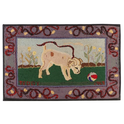 "Hand-Hooked Wool Rug Wall Hanging Commemorating ""Teddy"", 1967"