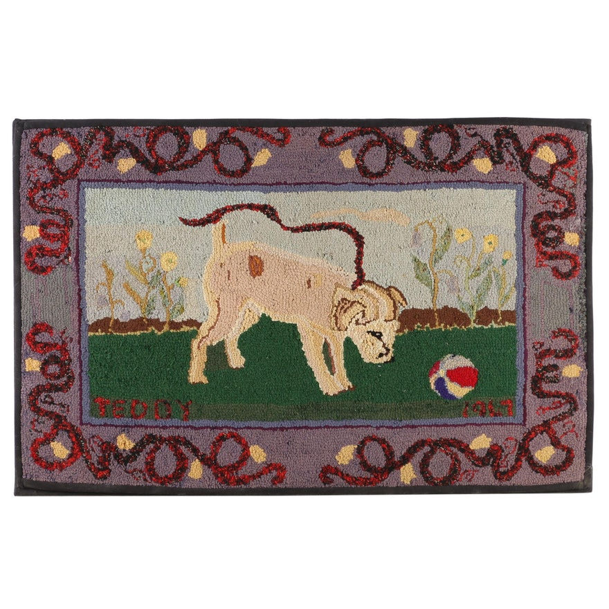 """Hand-Hooked Wool Rug Wall Hanging Commemorating """"Teddy"""", 1967"""