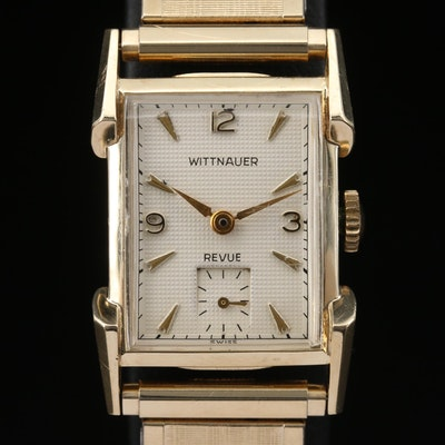 Vintage Wittnauer 14K Yellow Gold Stem Wind Wristwatch