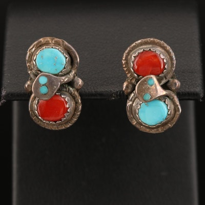 Effie Calavaza Zuni Coral and Turquoise Earrings