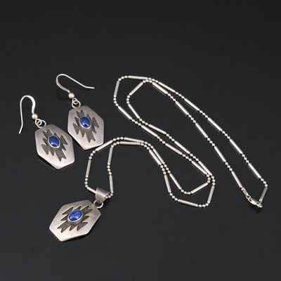 Artisan Signed Sterling Silver Lapis Lazuli Necklace and Earrings
