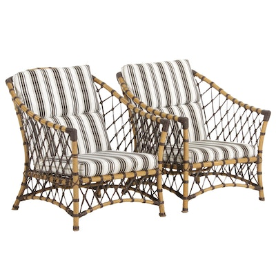 Pair of Metal Frame Patio Armchairs