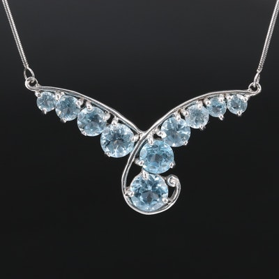Sterling Silver Topaz Station Necklace