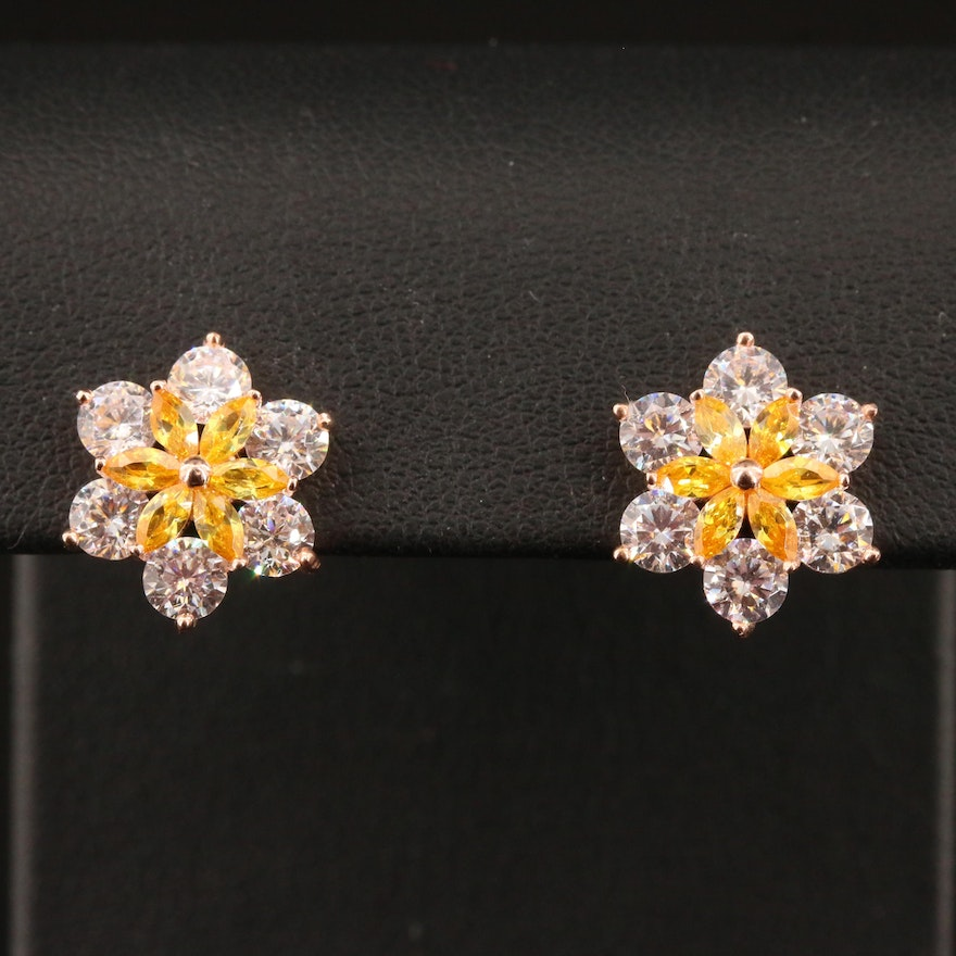 Sterling Silver Cubic Zirconia Button Earrings with Floral Motif
