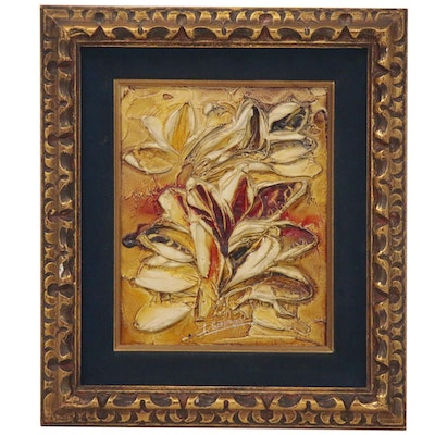 Louis Spiegel Oil Painting of Floral Still Life, Mid-20th Century
