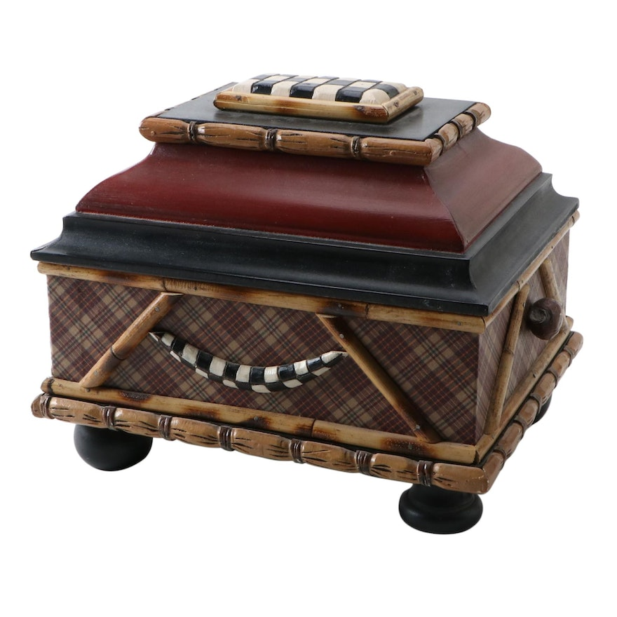 House of Hatten Decorative Plaid Accented Accessory Box
