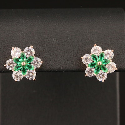 Sterling Silver Cubic Zirconia Floral Earrings