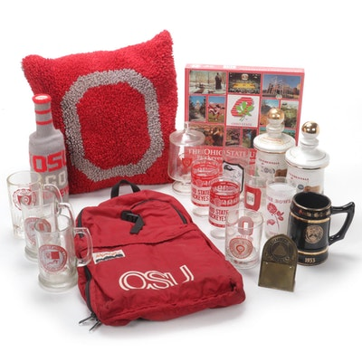 "OSU Buckeyes Football Items Including ""Old Fitzgerald Prime"" Decanters, 1970s"
