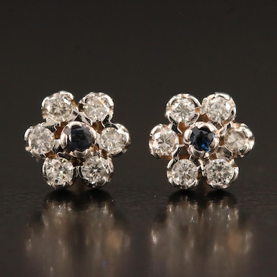 Vintage 14K Sapphire and Diamond Stud Earrings
