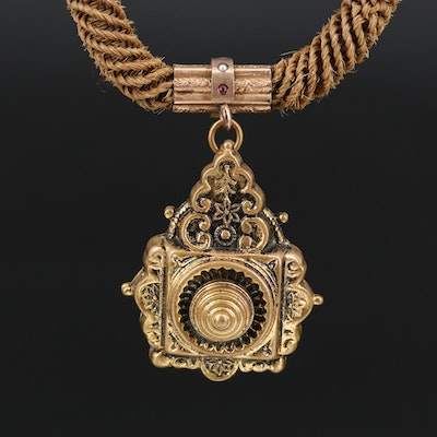 Victorian Hairwork Watch Chain with Fob