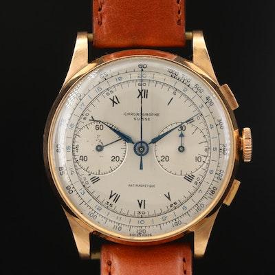 Vintage Chronograph Suisse 18K Rose Gold Stem Wind Wristwatch