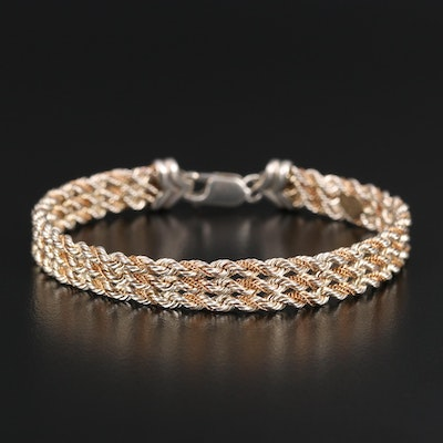 Precious Precious Sterling Triple Strand Rope Bracelet with 14K Accent