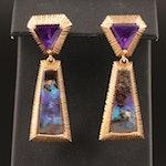 14K Amethyst and Boulder Opal Drop Earrings
