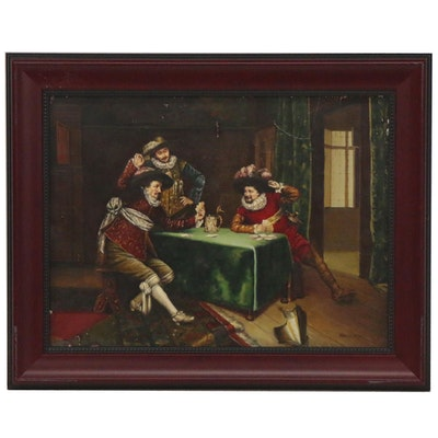 "Oil Painting after Adolphe Alexandre Lesrel ""A Game of Cards,"" Late 20th Century"
