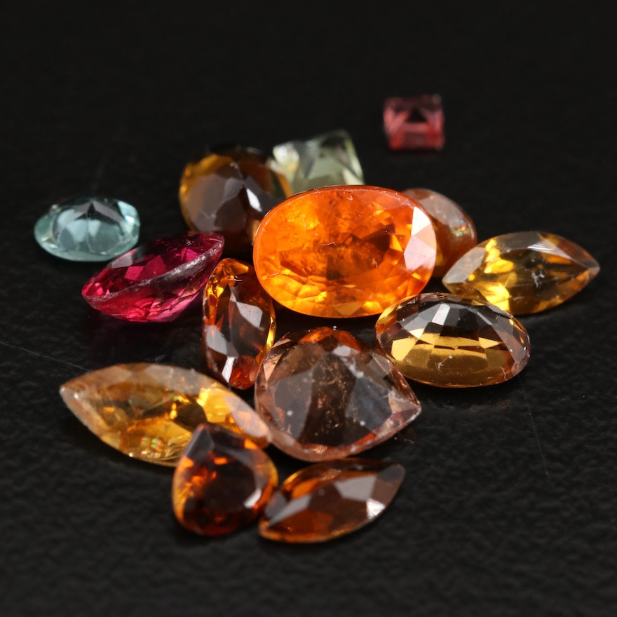 Loose Mixed Gemstones Including Tourmaline and Spessartine