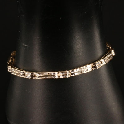 10K Channel Set Diamond Link Bracelet