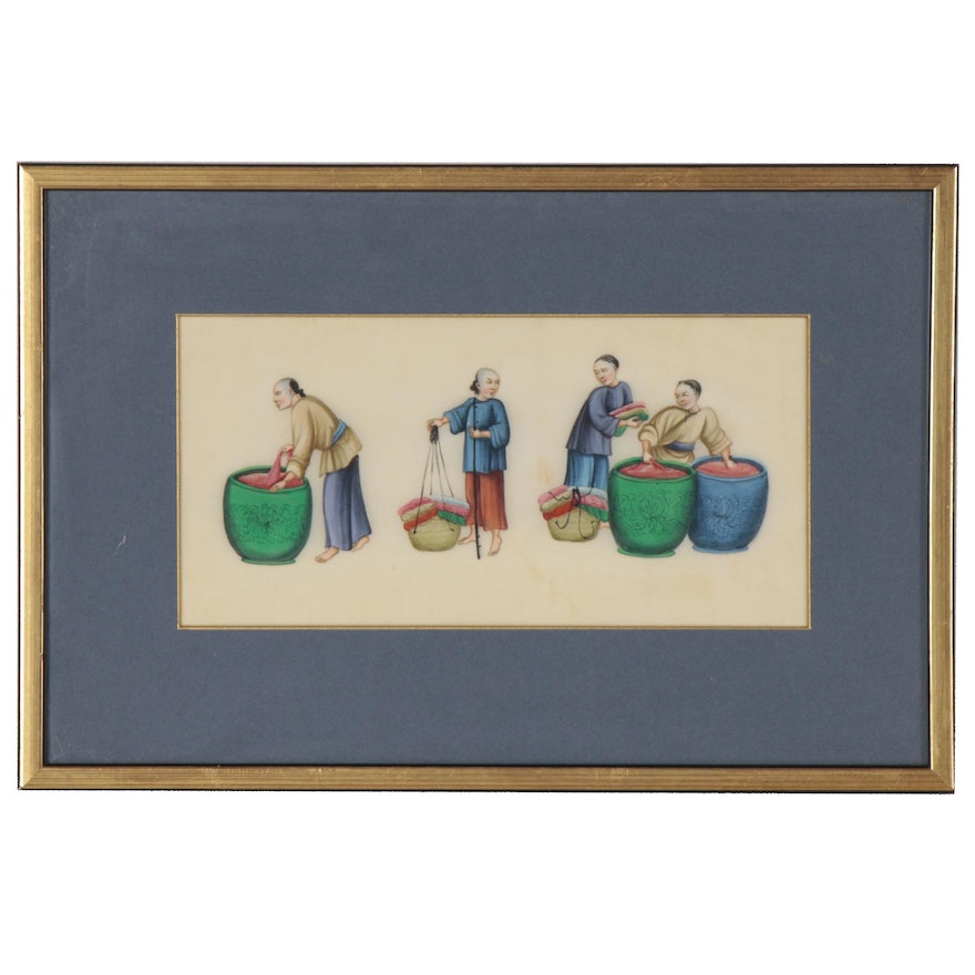 Qing Dynasty Chinese Gouache Painting of Genre Scene