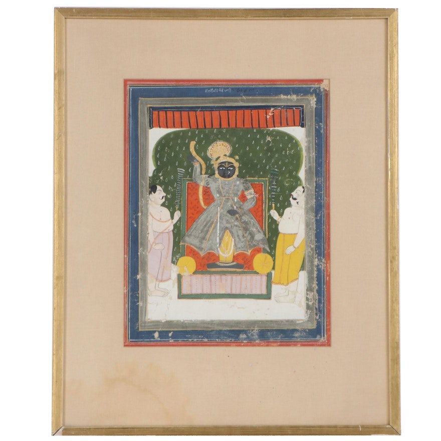 Indian Gouache Painting of Krishna as Shrinathji, 19th to Early 20th Century