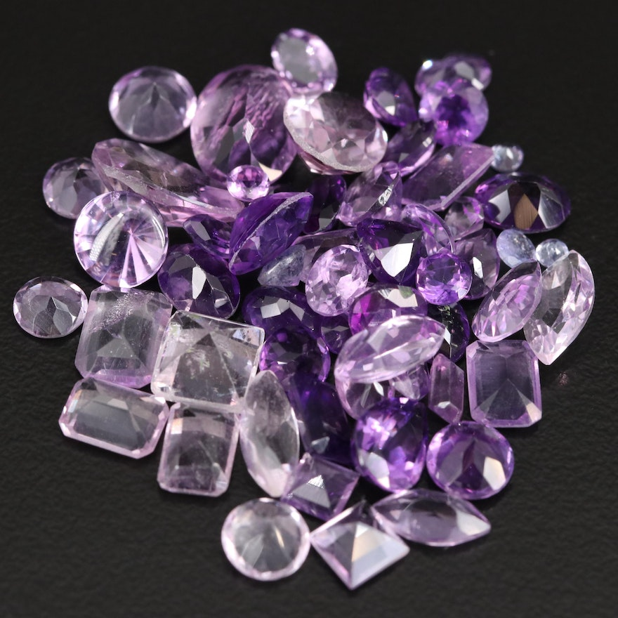 Loose 37.48 CTW Faceted Amethysts
