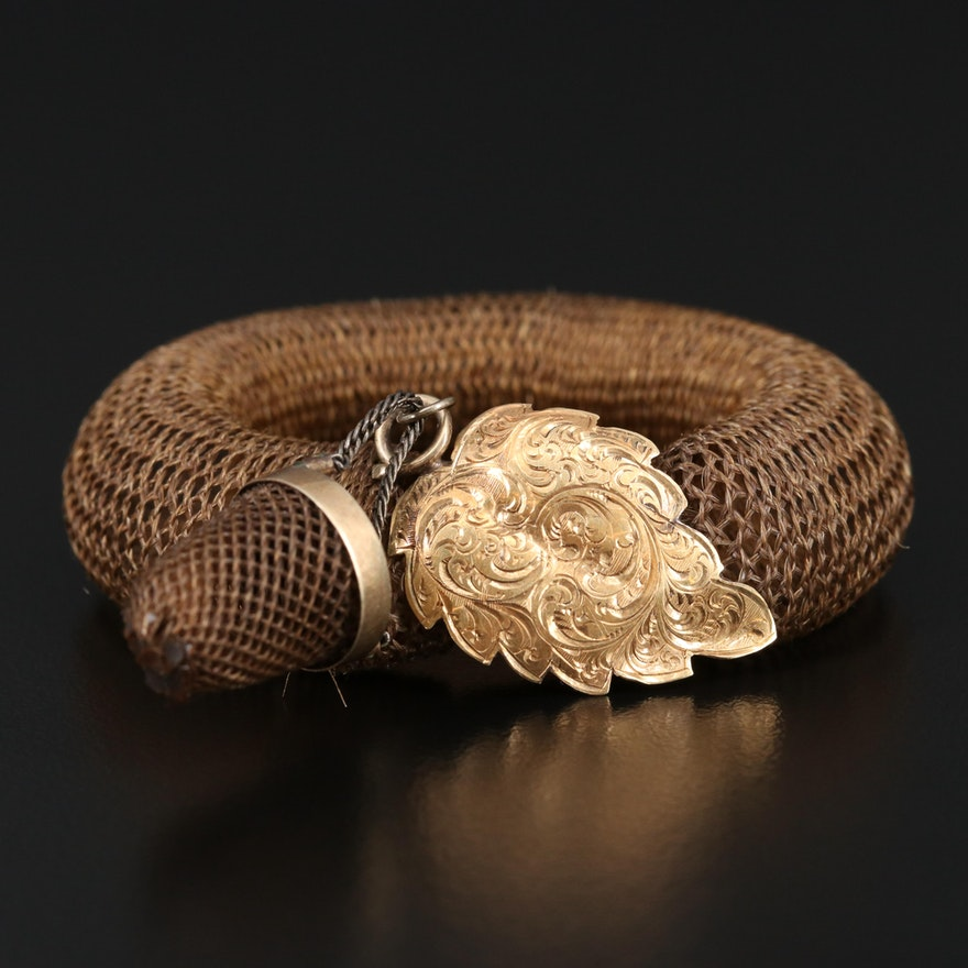 Victorian 14K Leaf Charm on Hairwork Bracelet