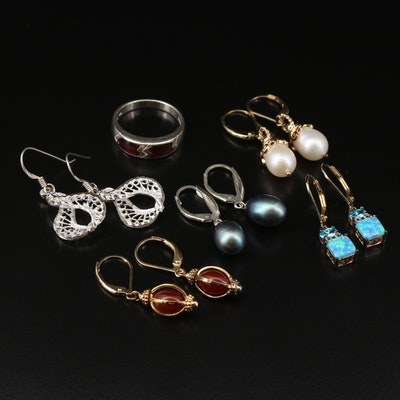 Sterling Silver Ring and Earrings Selection Featuring Carnelians and Pearls