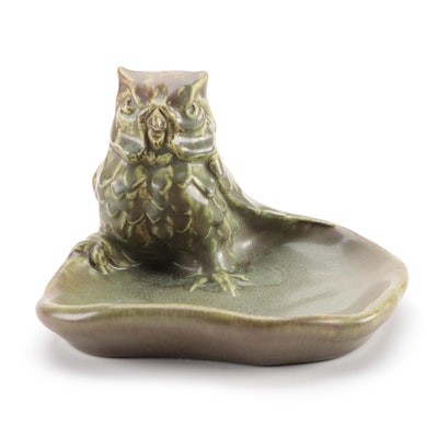 "Rookwood Pottery ""Owl"" Brown Over Green Matte Glaze Ceramic Ashtray, 1941"