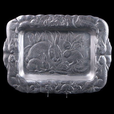 "Arthur Court ""Bunnies"" Aluminum Rectangular Serving Tray, Late 20th Century"