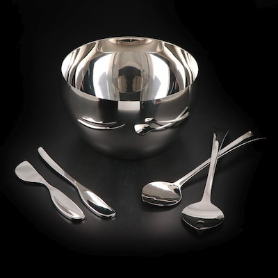 "Georg Jensen ""Cafu"" Stainless Steel Serving Bowl with Utensils and Cheese Knives"